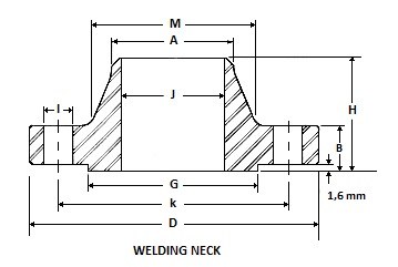 weld neck flanges dimensions